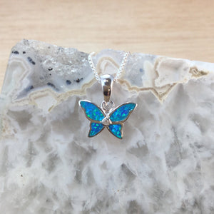 Opal Butterfly Necklace in Blue Velvet Gift Box - Necklace - AlphaVariable