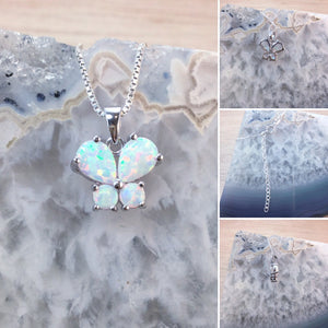 Sterling Silver Opal Butterfly Necklace - Necklace - AlphaVariable