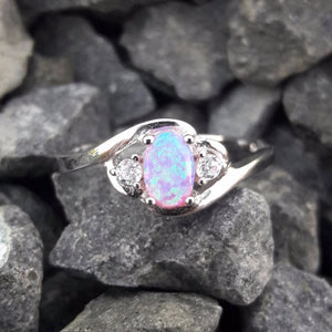 Pink Opal Ring with CZ Accents - Ring - AlphaVariable