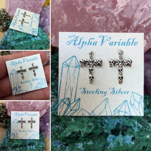 Skull Cross Earrings - Sterling Silver Studs - AlphaVariable