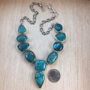 Sterling Silver Turquoise Necklace - Necklace - AlphaVariable
