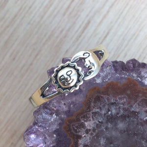 sterling silver sun moon ring