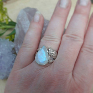 Teardrop Moonstone Ring -  - AlphaVariable
