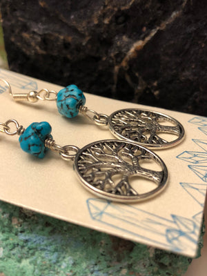 Turquoise Tree of Life Earrings - Earrings - AlphaVariable