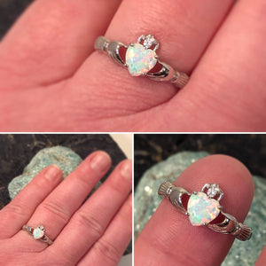 Custom Opal Claddagh Ring with Ruby - Ring - AlphaVariable