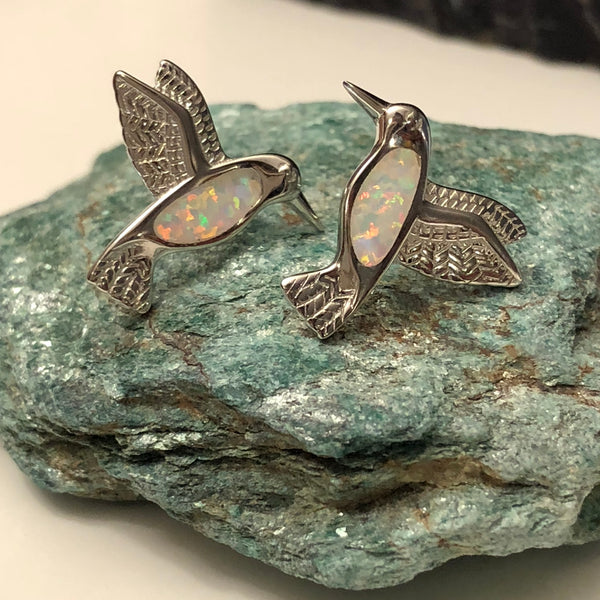 Opal Hummingbird Earrings - Earrings - AlphaVariable