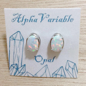 Oval Opal Earrings - Earrings - AlphaVariable