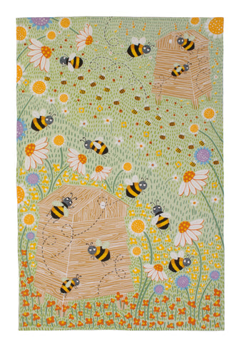 "Ulster Weavers, ""Daisy Bees"",  Pure cotton printed tea towel. - Home Landing"
