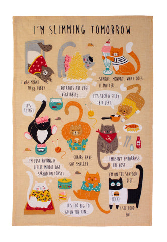 "Ulster Weavers, "" New, I'm Slimming Tomorrow"", Pure Cotton printed tea towel. - Home Landing"