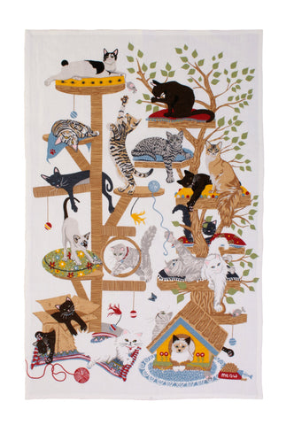"Ulster Weavers, ""Moggie  Mayhem"",  Pure cotton printed tea towel. - Home Landing"