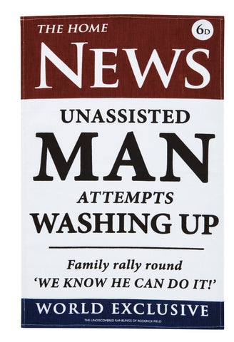 "Ulster Weavers, ""News Out Man"" by Roderick Field, Pure linen printed tea towel - Home Landing"