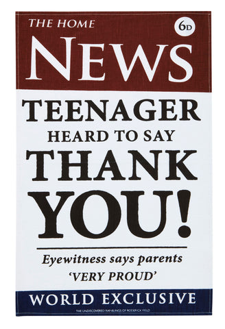"Ulster Weavers, ""News Out Teenager"" by Roderick Field, Pure linen printed tea towel - Home Landing"