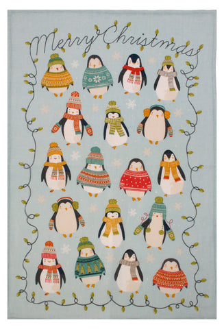 "Ulster Weavers, ""Penguin Lights"", Pure Linen printed tea towel"