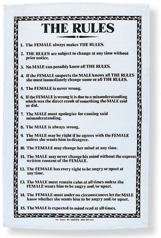 "Ulster Weavers, ""The Rules"", Pure cotton printed tea towel."
