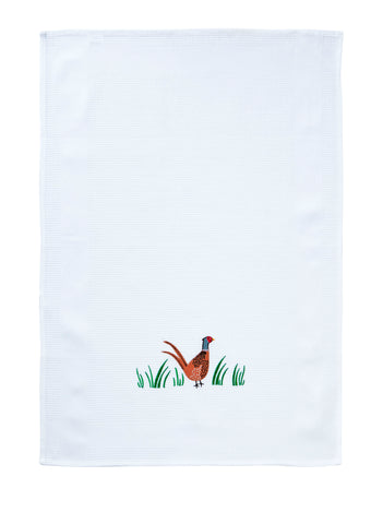 "Ulster Weavers, ""Pheasant Waffle"", Pure Cotton embroidered tea towel - Home Landing"