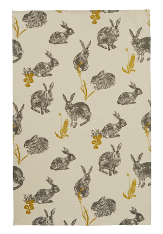 "Ulster Weavers, ""Block Print Rabbit"", Pure cotton printed tea towel. - Home Landing"