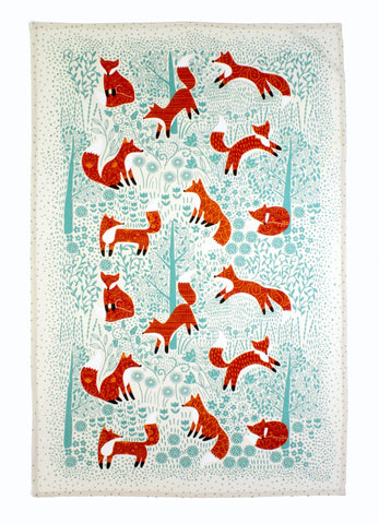 "Ulster Weavers, ""Foraging Foxes"", Pure Cotton printed tea towel - Home Landing"