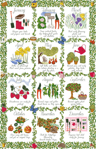 "Ulster Weavers, ""Gardeners Calendar"", Pure cotton printed tea towel. Printed in the UK. - Home Landing"