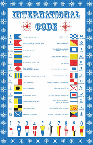 "Ulster Weavers, ""International Code"", Pure cotton printed tea towel. Printed in the UK. - Home Landing"