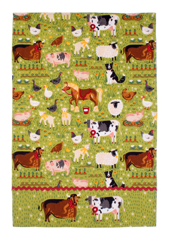 "Ulster Weavers, ""Jennie's Farm"", Pure Cotton printed tea towel. - Home Landing"
