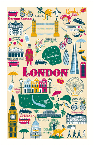 "Ulster Weavers, ""London Calling"", Cotton tea towel. Printed in the UK. - Home Landing"
