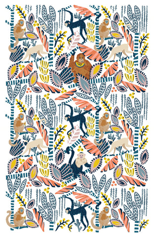 "Ulster Weavers, ""Monkey Business"", Cotton tea towel. Printed in the UK."