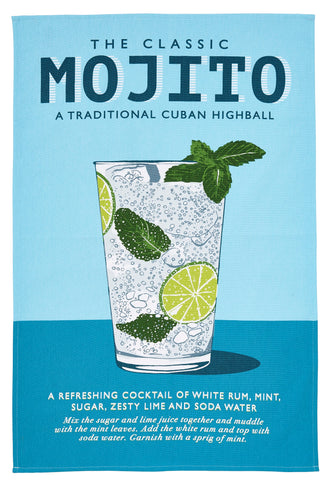 "Ulster Weavers, ""Wiscombe Mojito"", Pure cotton printed tea towel. Printed in the UK. - Home Landing"