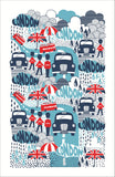 "Ulster Weavers, ""London Rainy Days"", Cotton tea towel. Printed in the UK. - Home Landing"