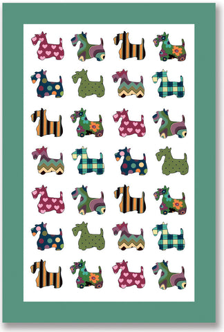 "Ulster Weavers, ""Scottie Patterns"", Cotton tea towel."