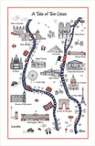 "Home-Landing, ""A Tale of Two Cities"", Pure Cotton tea towel. Printed in the UK."