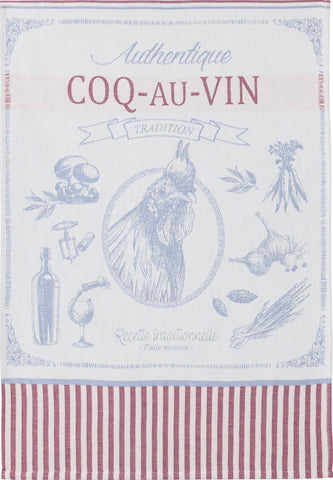 "Coucke ""Coq Au Vin"", Woven cotton tea towel. Designed in France."