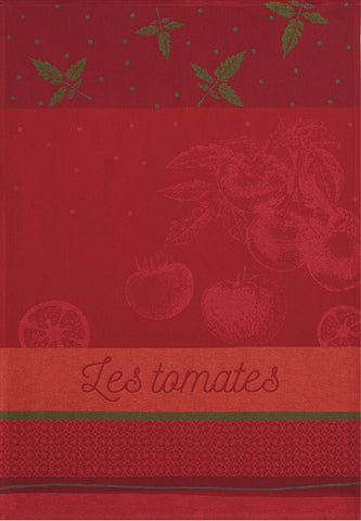"Coucke ""Tomates du Potager"", Woven cotton tea towel. Designed in France."