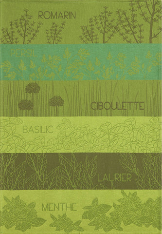"Coucke ""Herbes Aromatiques"", Woven cotton tea towel. Designed in France."