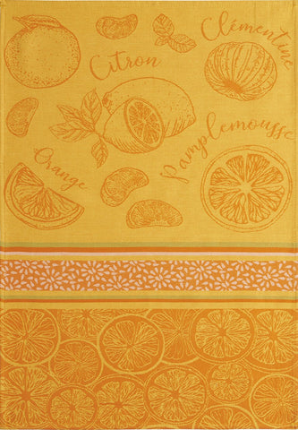 "Coucke ""Agrumes"", Woven cotton tea towel. Designed in France."
