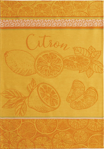 "Coucke ""Citron"", Woven cotton tea towel. Designed in France."