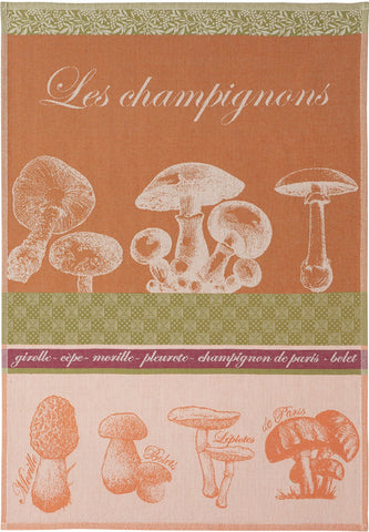 "Coucke ""Champignons"", Woven cotton tea towel. Designed in France."