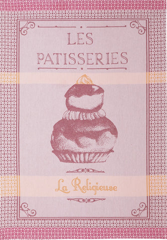 "Coucke ""Religieuse Rose"", Woven cotton tea towel. Designed in France."