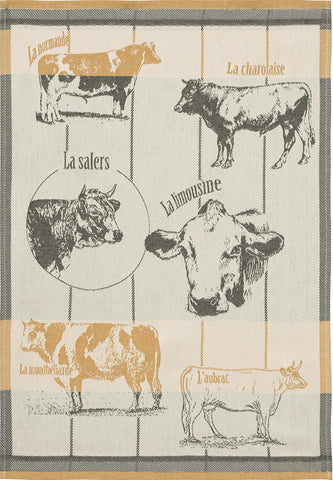 "Coucke ""Vaches Bovines"", Woven cotton tea towel. Designed in France."