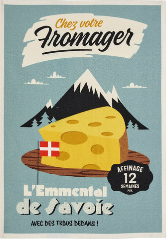 "Coucke ""Misteratomic-Fromage de Savoie"", Printed cotton tea towel. Designed in France."