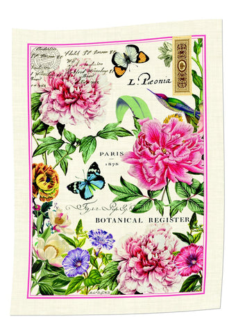 "Michel Design Works, ""Peony"", Pure cotton printed tea towel"