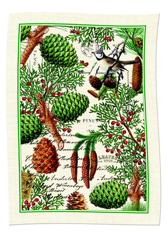 "Michel Design Works, ""Spruce"", Pure cotton printed tea towel - Home Landing"
