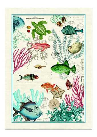 "Michel Design Works, ""Sea Life"", Pure cotton printed tea towel. - Home Landing"