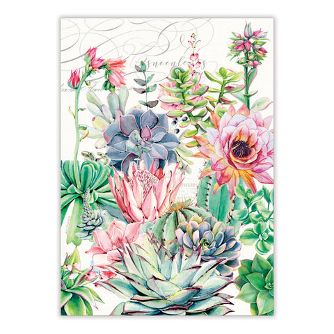 "Michel Design Works, ""Pink Cactus"", Pure cotton printed tea towel."