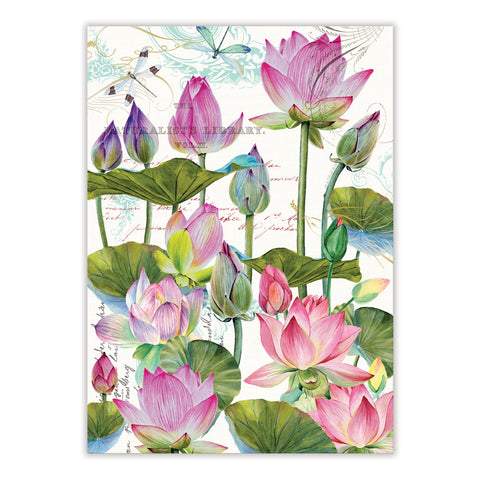 "Michel Design Works, ""Water Lilies"", Pure cotton printed tea towel. - Home Landing"
