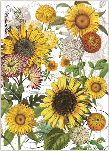 "Michel Design Works, ""Sunflower"", Pure cotton printed tea towel."