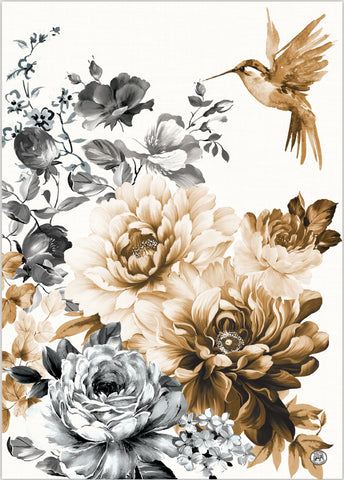 "Michel Design Works, ""Gardenia"", Pure cotton printed tea towel."