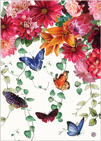"Michel Design Works, ""Sweet Floral Melody"", Pure cotton printed tea towel."