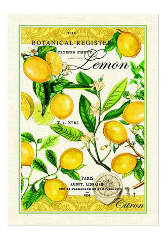 "Michel Design Works, ""Lemon Basil"", Pure cotton printed tea towel - Home Landing"