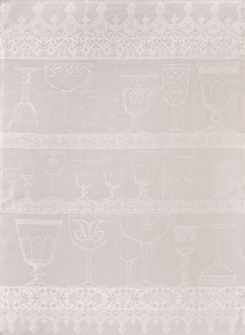 "Jacquard Français ""Cristal"" (White), Woven linen tea towel. Made in France. - Home Landing"