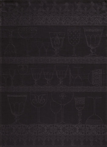 "Jacquard Français ""Cristal"" (Slate), Woven linen tea towel. Made in France."